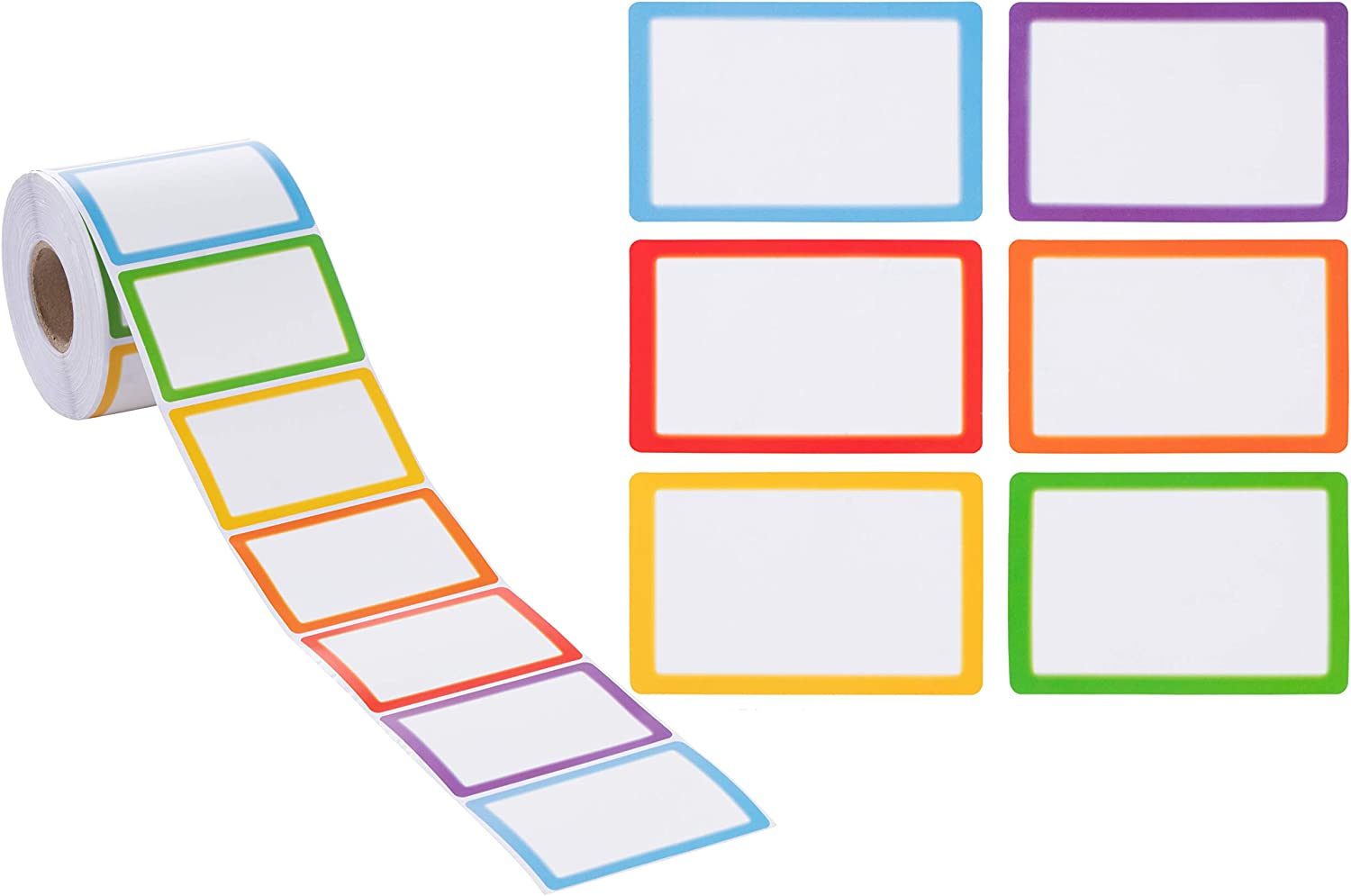 Rainbow Name Tags for Classroom, Teacher School Supplies (3.5 x 2 in, 600-Pack)
