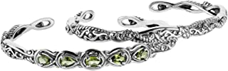 product image for Carolyn Pollack Sterling Silver & Gemstone Filigree Cuff Bracelet Set - Size S, M and L