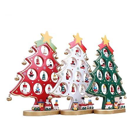 Albero Di Natale Legno Fai Da Te.Nuolux Albero Di Natale In Legno Fai Da Te Natale Ornamento Tavolo Scrivania Decorazione Bianco