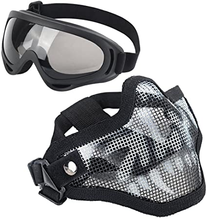 Face Mask Protection W// Mesh Skull Goggles And Neck Protector Black For Airsoft