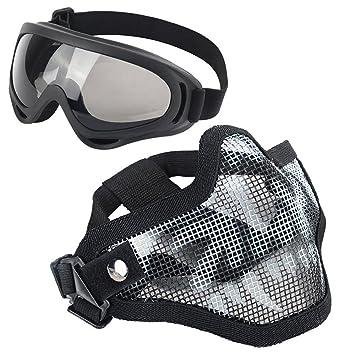 Juego de máscaras para airsoft, media la cara de malla de acero con