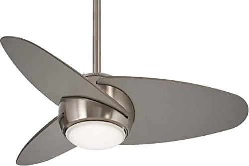 Minka-Aire F410L-BS Slant 36 Ceiling Fan with LED Light Wall Control, Brushed Steel