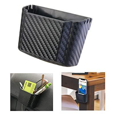 Hypersonic Front Seat Car Organizer Universal Vehicle Dashboard Pocket Holder Plastic Black Cargo Storage Box Holds Phone Money Cards Keys Glasses Remote: Automotive