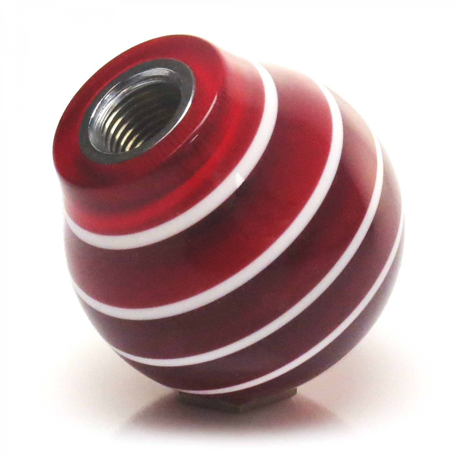 ASCSNX1594679 White Fly Red Stripe with M16 x 1.5 Insert American Shifter 273648 Shift Knob