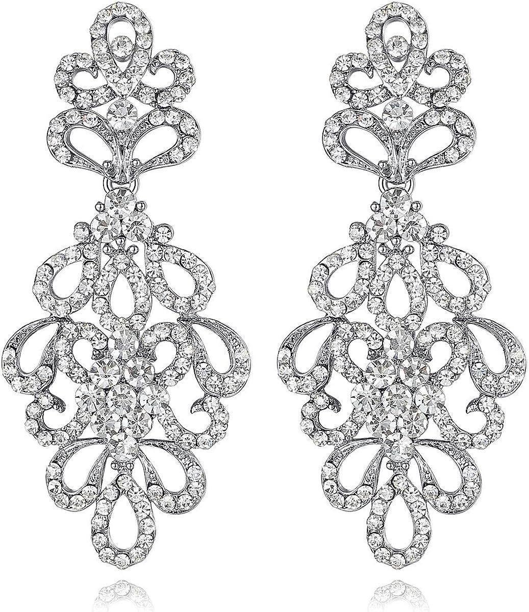 mecresh - Pendientes colgantes de plata con diamantes de imitación para novias