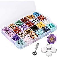 Mornajina 720 Pieces Sealing Wax Beads, Octagon Wax Seal Beads Kits for Wax Seal Stamp, with 1 Wax Sealing Stamp Melting…
