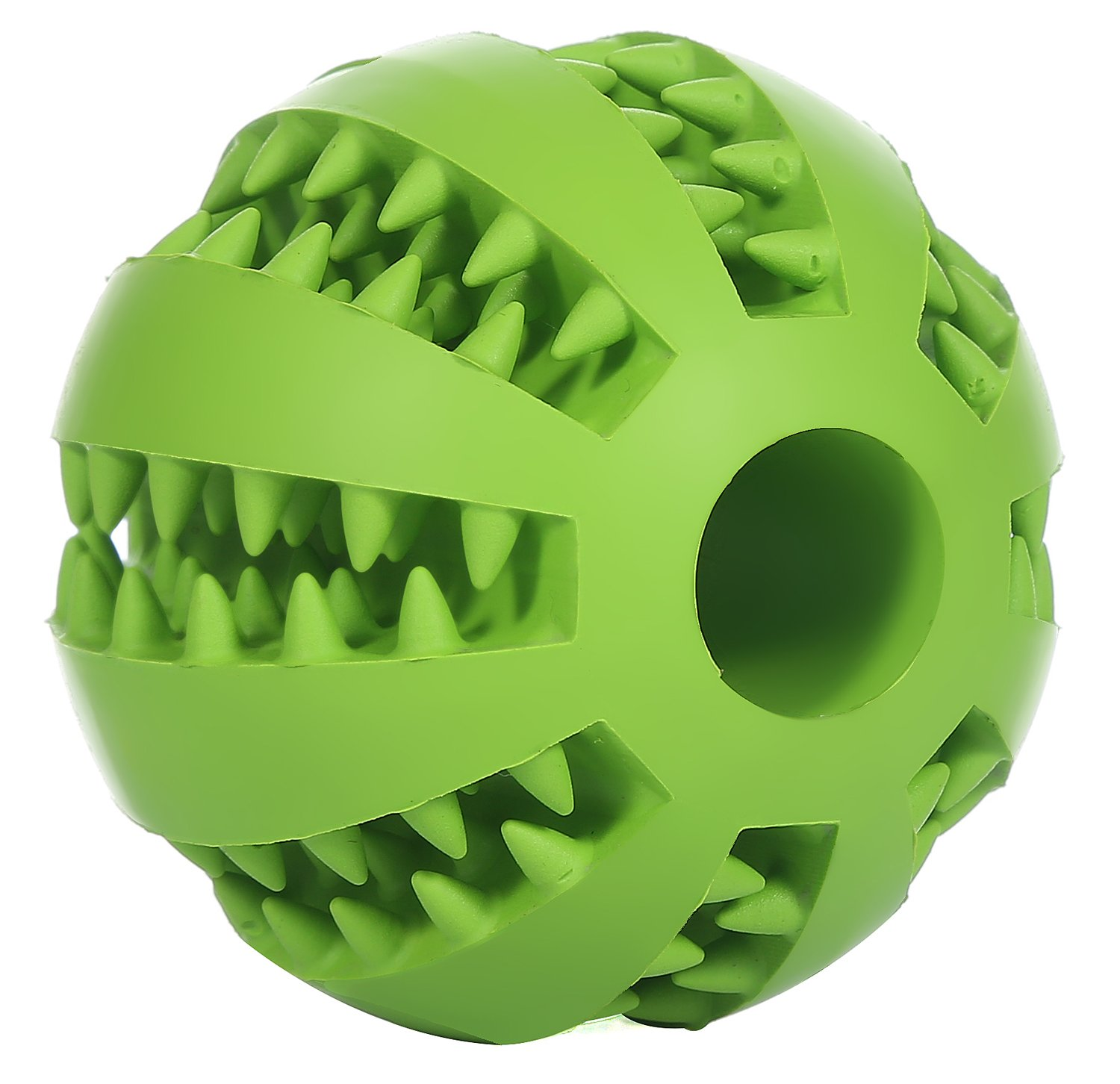 GeLivable Dogs Cats Playing Chewing Iq Training Tooth Cleaning Ball Interactive Treats Rubber Ball Pet Toys,Green