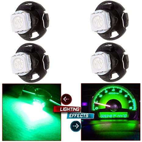 cciyu T4.7 12mm Neo Wedge LED A//C Climate Control Lights Bright Blue1.25 Neo Wedge Base Light 4 Pack Green