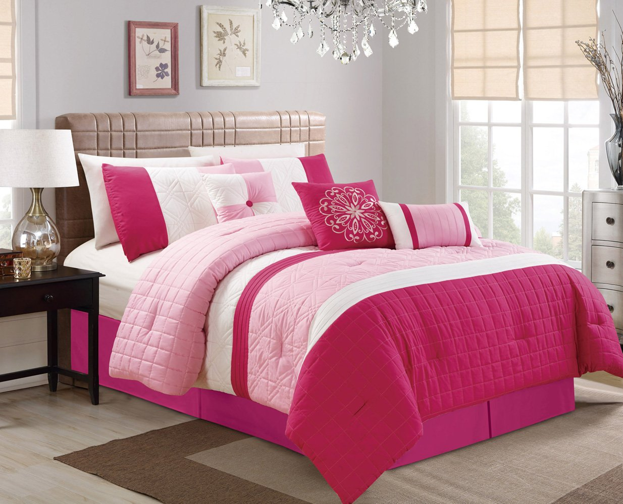 Grand Linen Modern 4 Piece Hot Pink, Light Pink, White Curtain Set with Attached Valance and Sheers