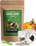 Heirloom Vegetable Seeds -10 Variety - Non GMO Vegetable Seeds For Planting Indoor or Outdoors, Brussel Sprouts, Carrots, Peppers, Cucumber, Kale, Romain, Peas, Radish, Tomato Seed - Prepper Supplies