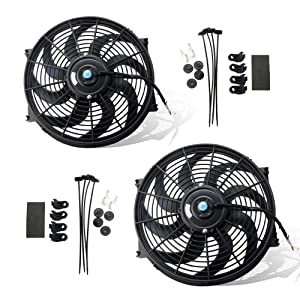 MOSTPLUS Black Universal Electric Radiator Slim Fan Push/Pull 12V + Mounting Kit (14 Inch) Set of 2