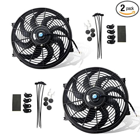 14 Inch Black Universal Electric Radiator Slim Fan Push/pull 12v Mounting Kit A Great Variety Of Goods