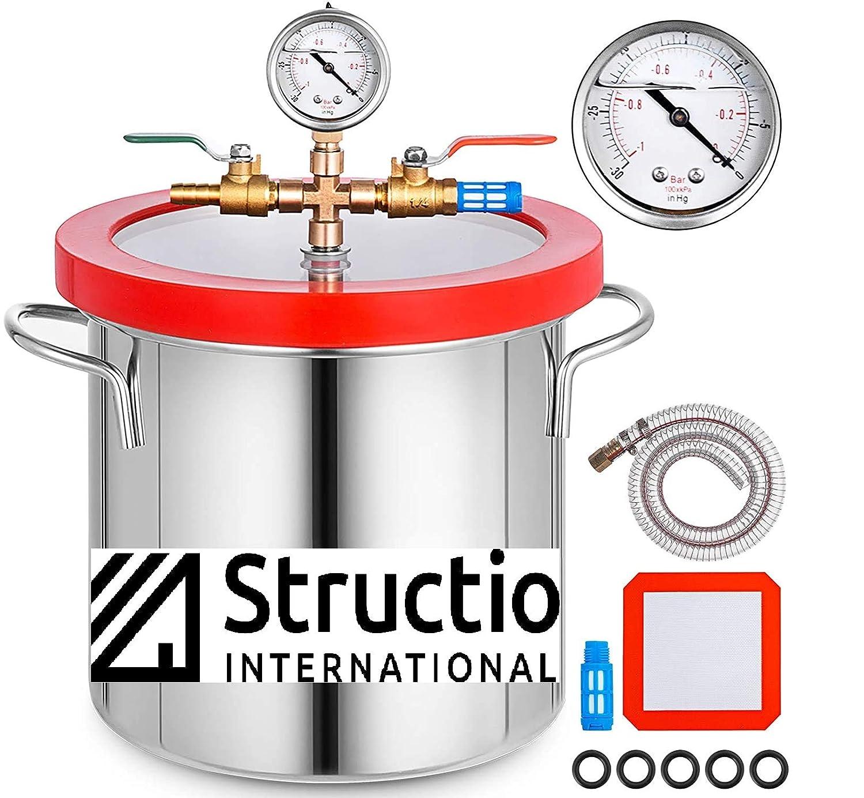 Depósito de desgasificación, cámara de vacío, recipiente de vacío, 9 litros, caldera de vacío, para resina, al vacío