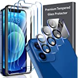 6 Pack LK 3Pcs Screen Protector Compatible with iPhone 12 5G - 6.1 inch & 3Pcs Camera Lens Protector Anti-Scratch Easy-Instal