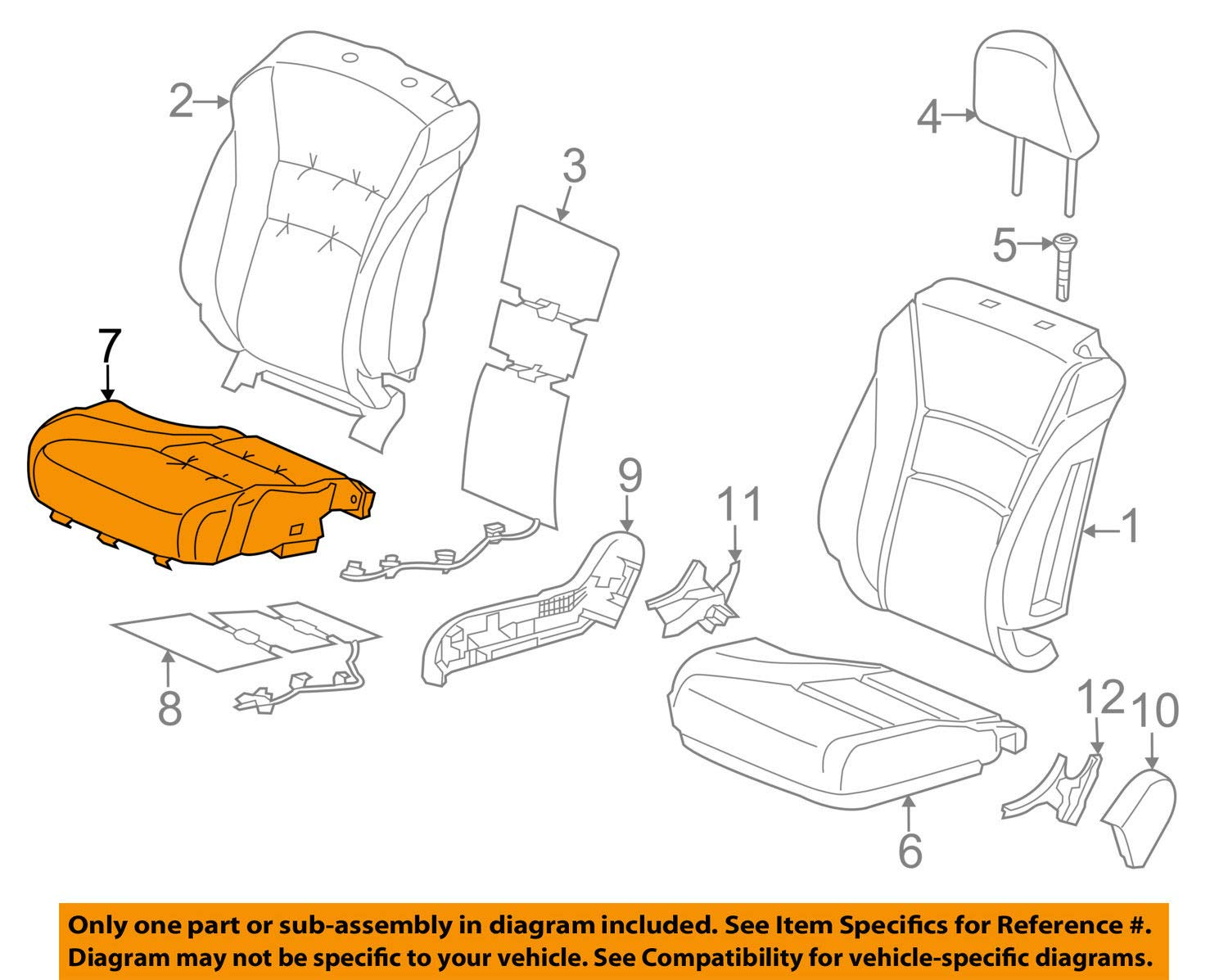 TOYOTA Genuine 71518-52F10-C0 Sear Cushion