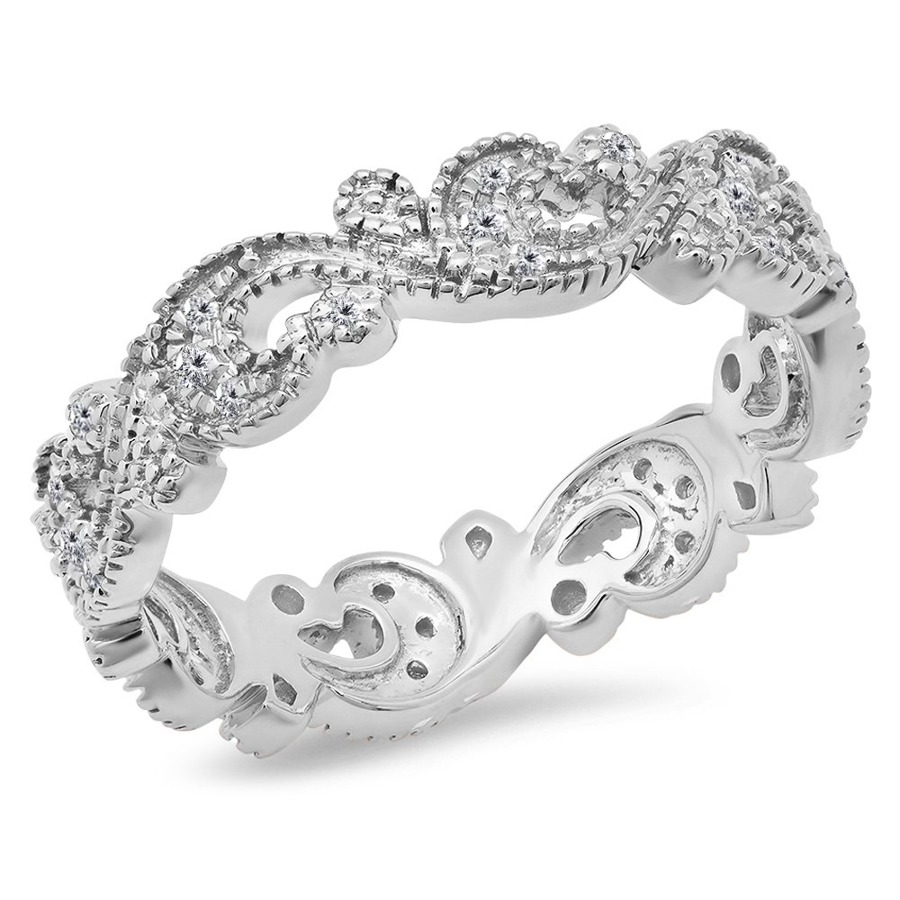0.25 Carat (Ctw) 14K White Gold White Diamond Vintage Style Wedding Eternity Band Stackable Ring 1/4 CT by DazzlingRock Collection