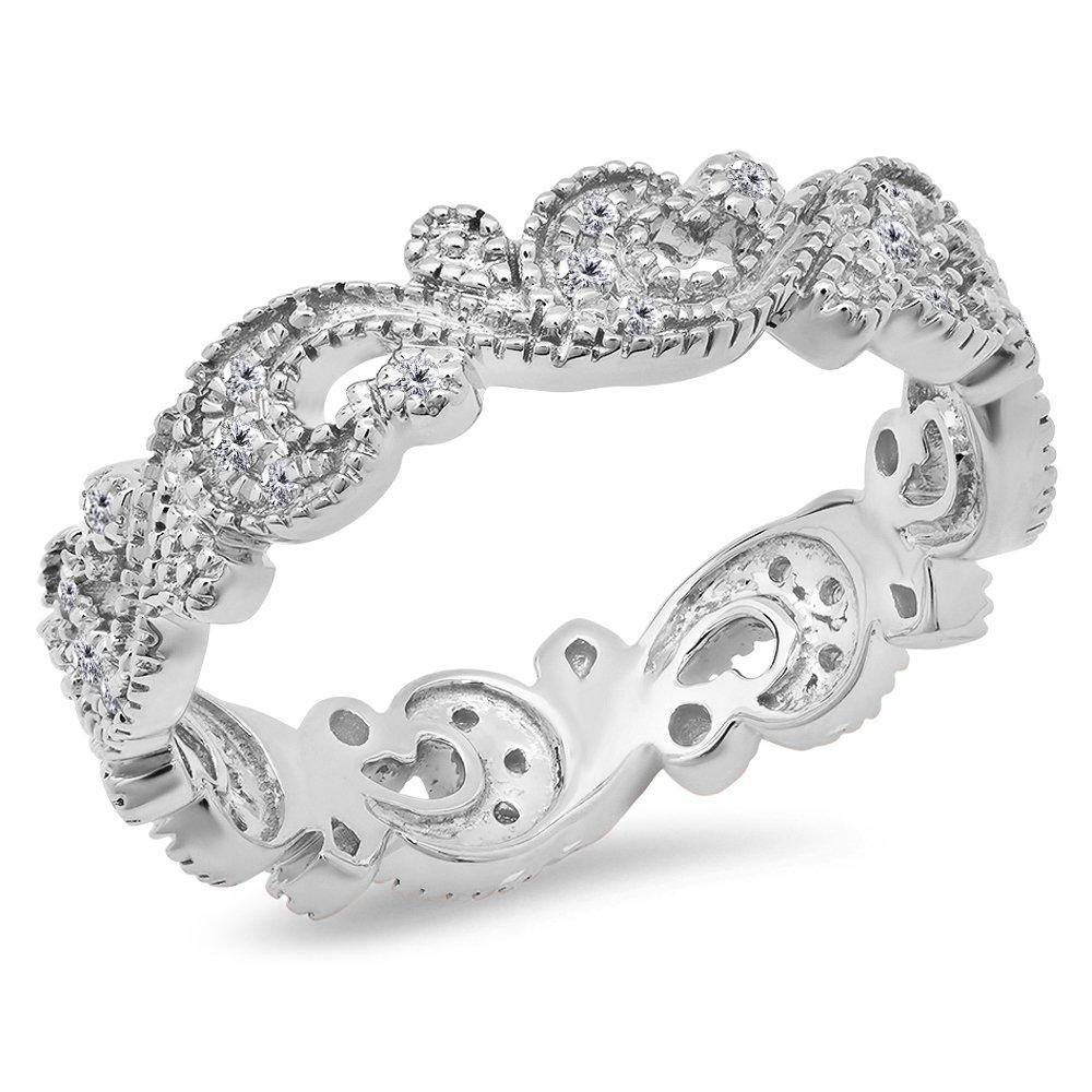 0.25 Carat (Ctw) 14K White Gold White Diamond Vintage Style Wedding Eternity Band Stackable Ring 1/4 CT