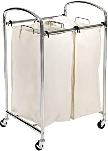 Seville Classics Mobile 2-Bag Compact Laundry Hamper Sorter Cart, Chrome