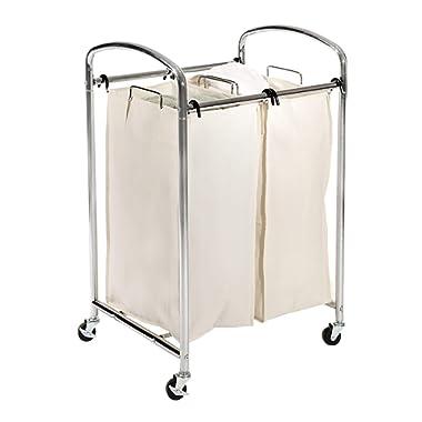 Seville Classics Mobile Double Bag Compact Laundry Hamper Sorter Cart, Chrome