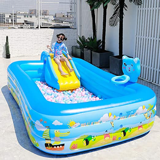 Grande Hinchable Piscina Familiar,Piscina Inflable para Adults Child Backyard,Juegos Acuáticos para Niños Piscina con Tobogán Y Aro De Baloncesto A 420x205x60cm(165x81x24inch): Amazon.es: Jardín