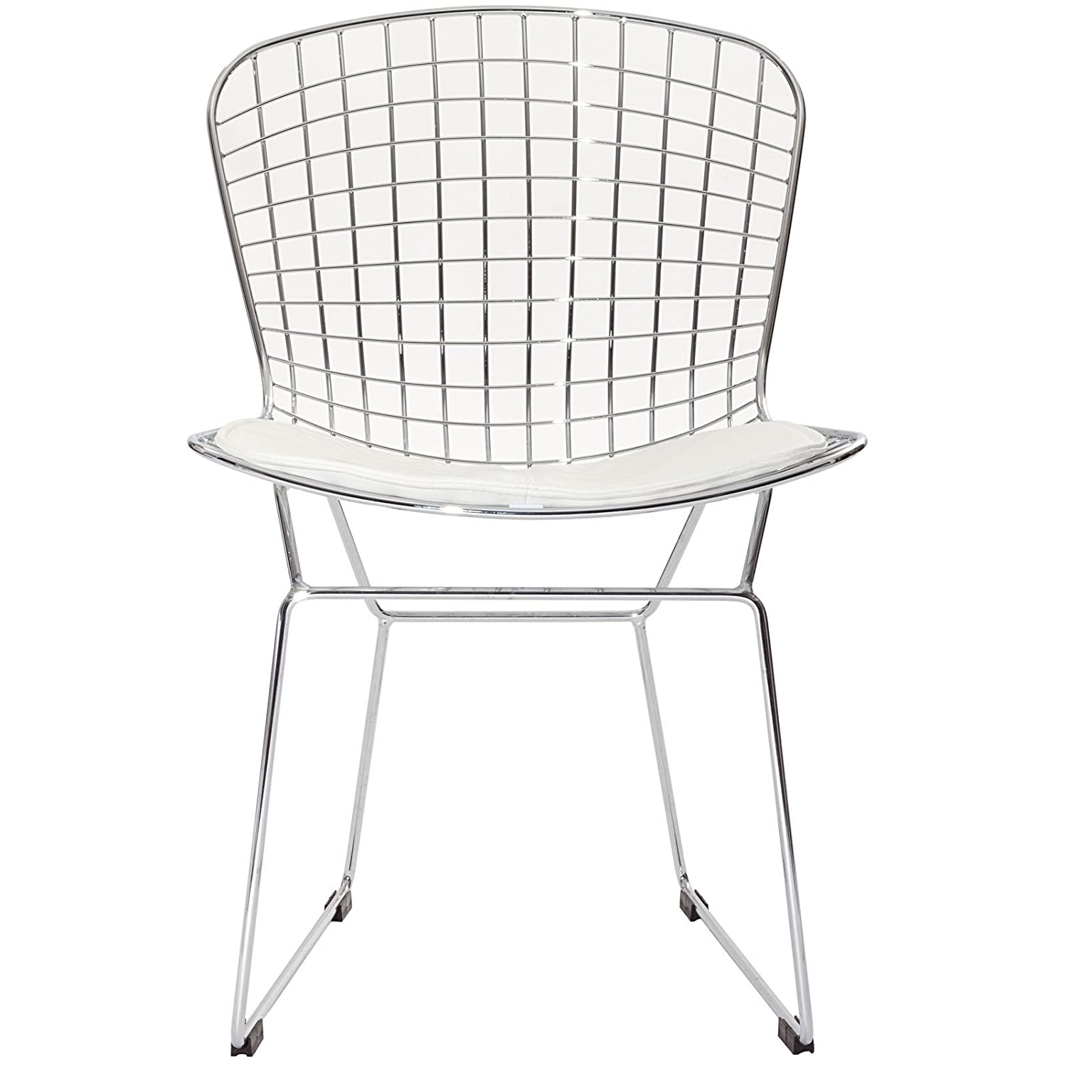 Amazon.com: Modway Bertoia Style Side Chair With White Cushion: Kitchen U0026  Dining