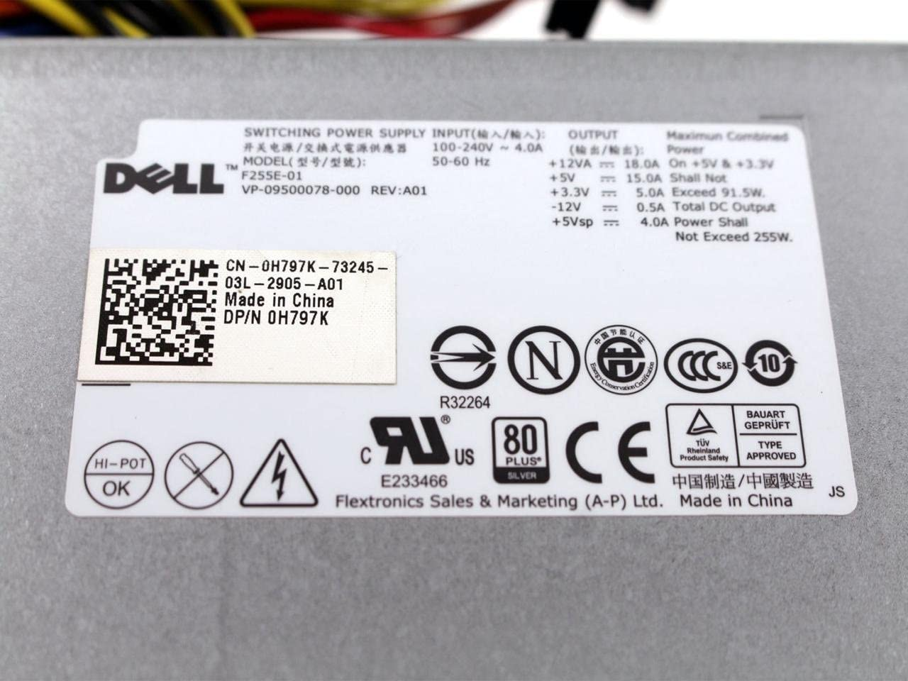 Dell Optiplex 360 380 1 Fan 225W 100-240V Switching Power Supply F255E-01 H797K 0H797K CN-0H797K