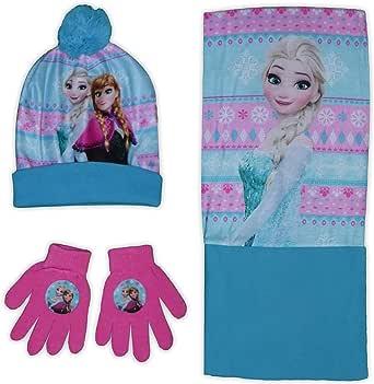 Disney Frozen Girls Bobble Hat Guantes Snood Set