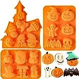 Homyplaza 3PCS Halloween Silicone Baking Molds, Nonstick Silicone Ghost Pumpkin Cake Molds, Cookies Molds DIY Halloween Bat,