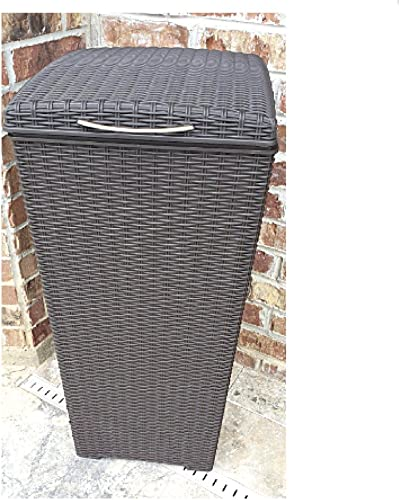 30 Gallon Trash Can with Lid Resin Wicker Outdoor Laundry Hamper Large Tall Bin Liner Patio eBook
