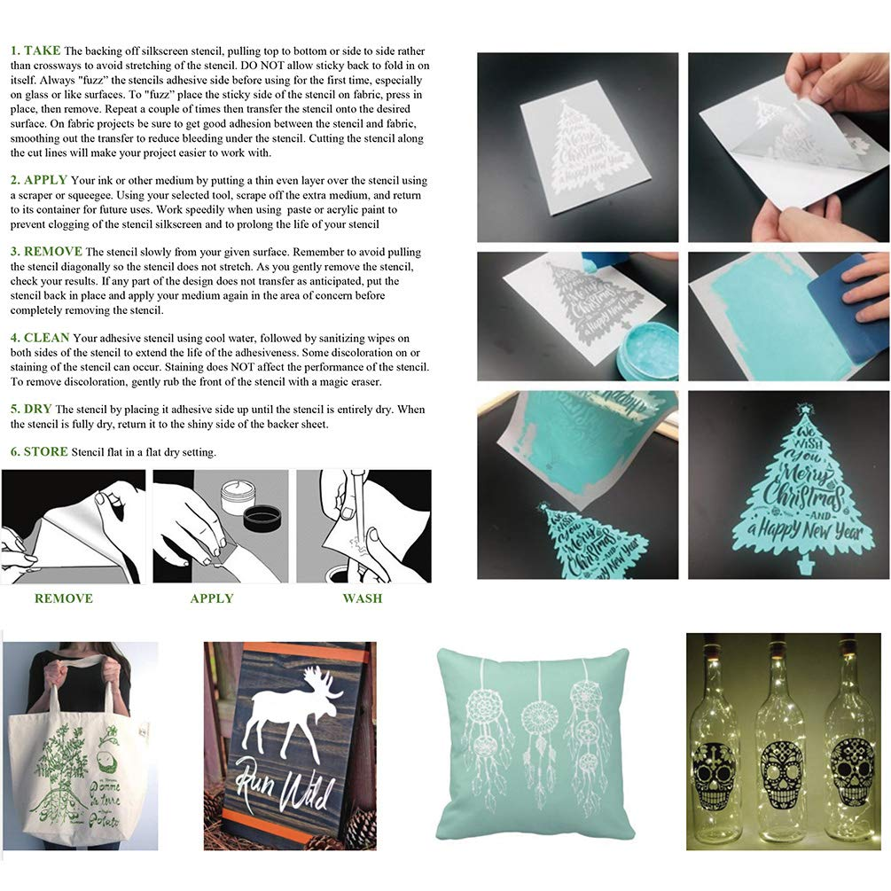 YeulionCraft Self-Adhesive Silk Screen Printing Stencil Mesh Transfers for DIY Christmas Decoration T-Shirt Pillow Fabric Painting Paper 6PCS