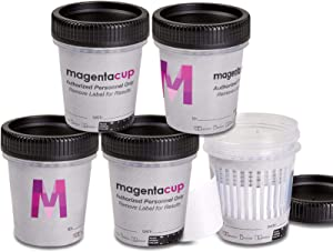 Magenta™ 7 Panel Instant Drug Test Cup COC-MOP-AMP-BZO-BAR-MTD-OXY, NO THC, Lower OPI 300ng/ml Cutoff/FDA-510K, OTC & CLIA Waived (25)