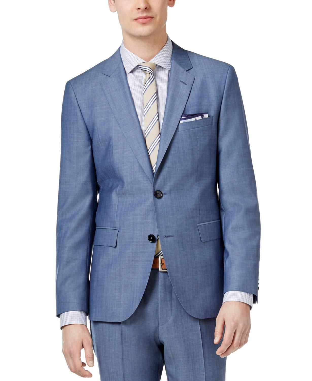 baefa6972 Hugo Boss Slim Fit 2 Piece Men's 100% Virgin Wool Suit C-Jeffery/C-Simmons  Light Blue Textured – Shop New York Style Guide