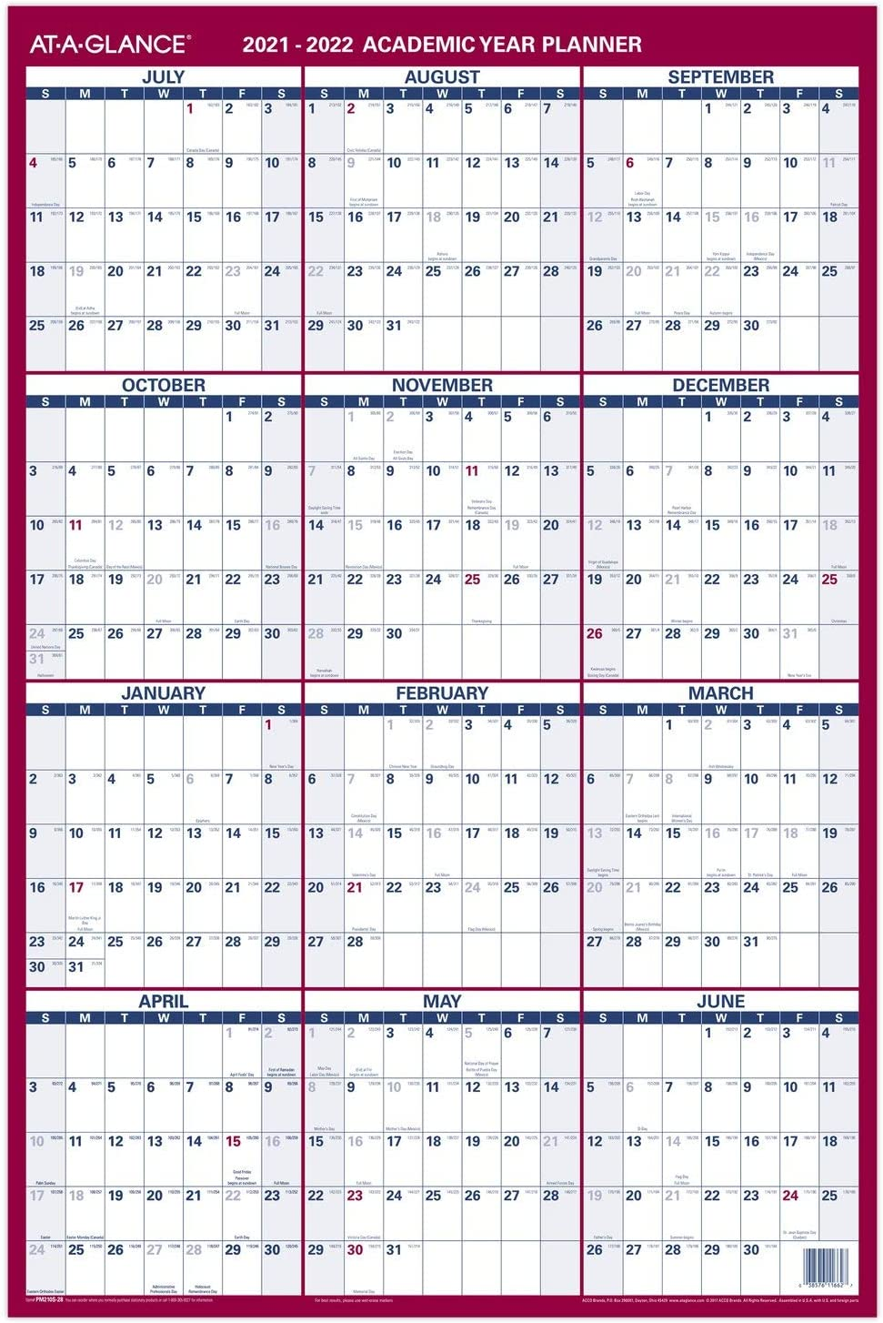 At A Glance Wall Calendar 2022.Amazon Com 2021 2022 Erasable Calendar Dry Erase Wall Planner By At A Glance 24 X 36 Large Academic Regular Year Double Sided Vertical Pm210s28 Office Products