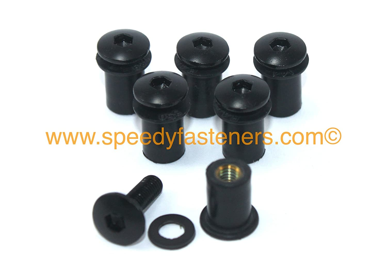Black Aluminium Motorcycle Wind Screen Windshield Bolts Washers & Wellnuts 6 Piece Kit Various