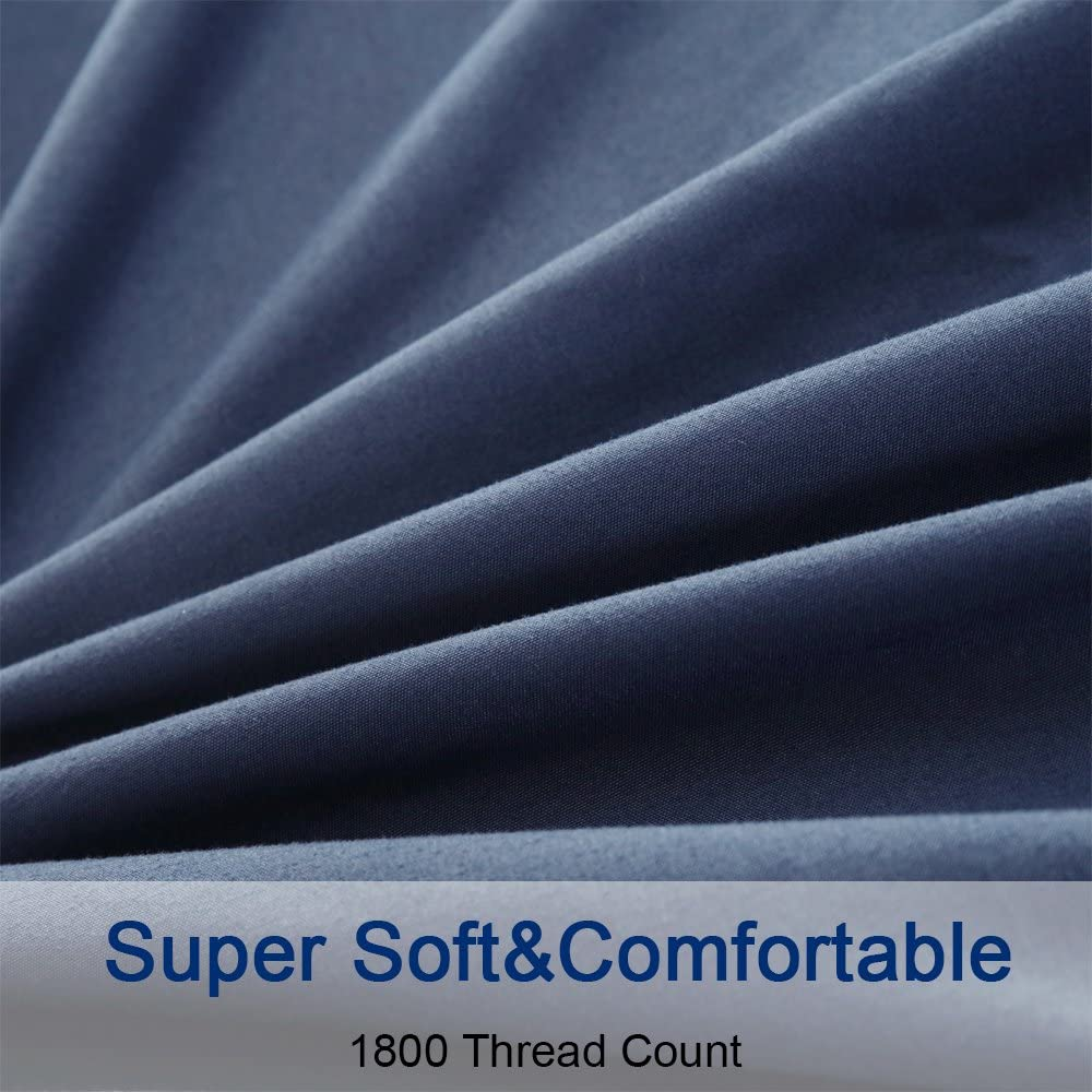 SONORO KATE Microfiber Hypoallergenic/Breathable/Stain-Resistant, 1800 Thread Count, Solid 6-Piece Bed Sheet Set (1 Flat, 1 Fitted sheet and 4 Pillow covers), King, Navy Blue