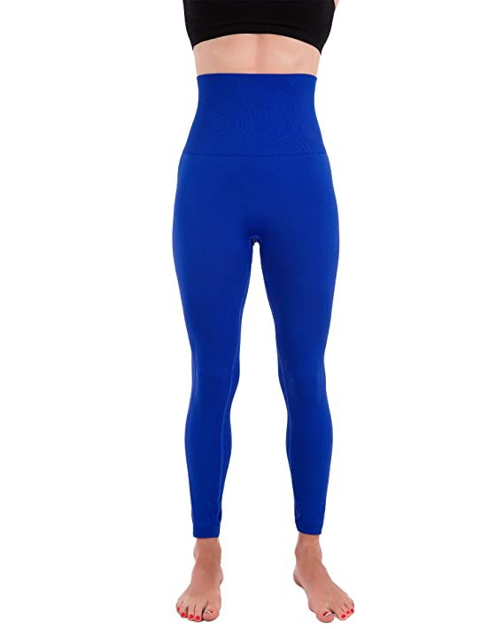 Homma Activewear Thick High Waist Tummy Compression Slimming Body Leggings Pant (Small, Royal)