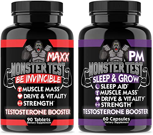 Monster Test Maxx Testosterone Booster for Men – Maximum Strength Energy Pills for Natural Muscle Growth Pump – Enhance Performance Monster Max Monster PM
