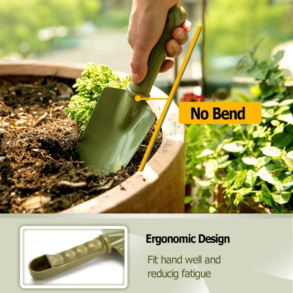 Smoothing Soil Cultivator and Trowel Solution4Patio Garden Tool Set Garden Gifts #2050+2048-US Bend-Proof 2 Piece Carbon Steel Light Weight Weeding PE Ergonomic Handle Grip Non-Slip Planting