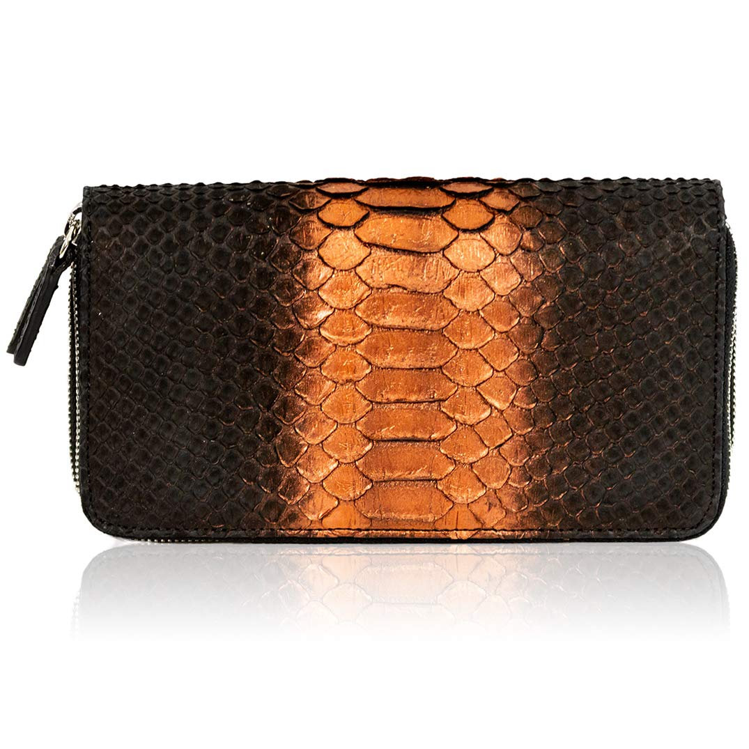 Silvano Biagini Italian Designer Chocolate Opal Python Leather Large Ziparound Wallet