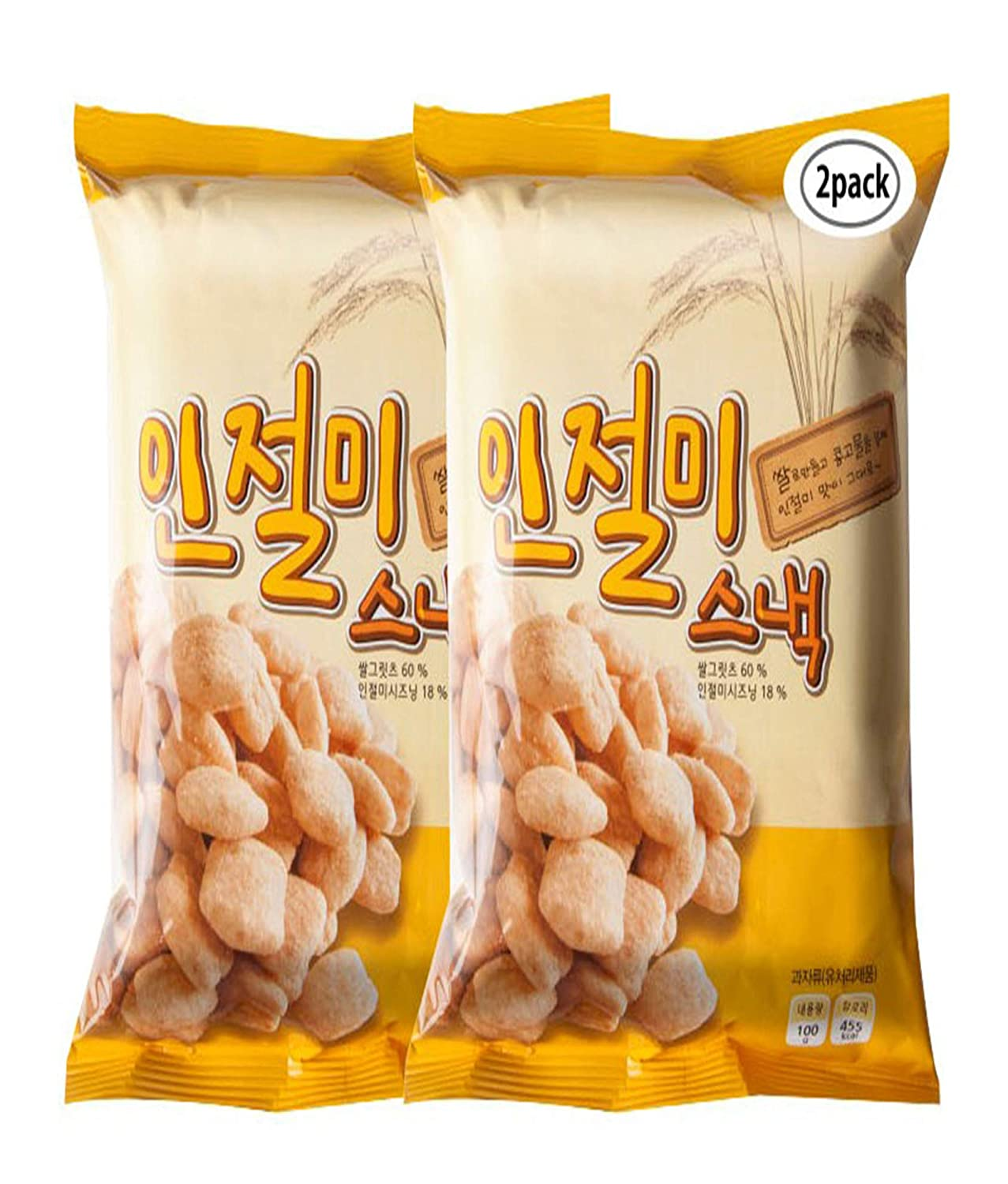 Woori Food Injeolmi Premium Korean Food Rice Cake Korean Snacks 7.05oz(200g) Making with Korean Rice and Not Fry In Oil (Pack of 2) 인절미 스낵