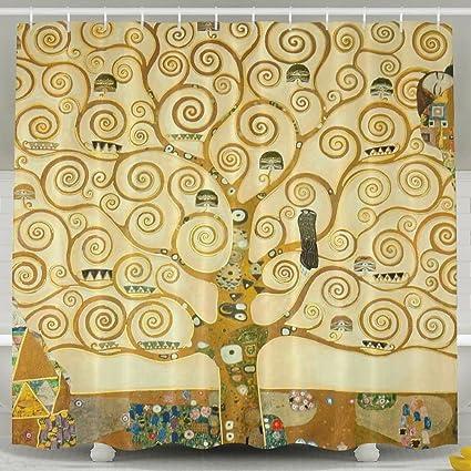 Gustav Klimt Paintings Shower Curtain Repellent Fabric Mildew Resistant Machine Washable Bathroom Anti Bacterial Polyester