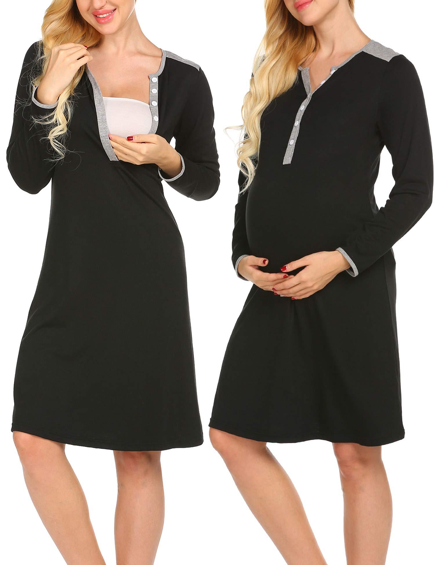 bf86b3b8017cb Nursing StrabElla Womens Maternity Breastfeeding Dress Short Sleeve Nursing  Nightgown for Nightshirt Sleepwear Tops