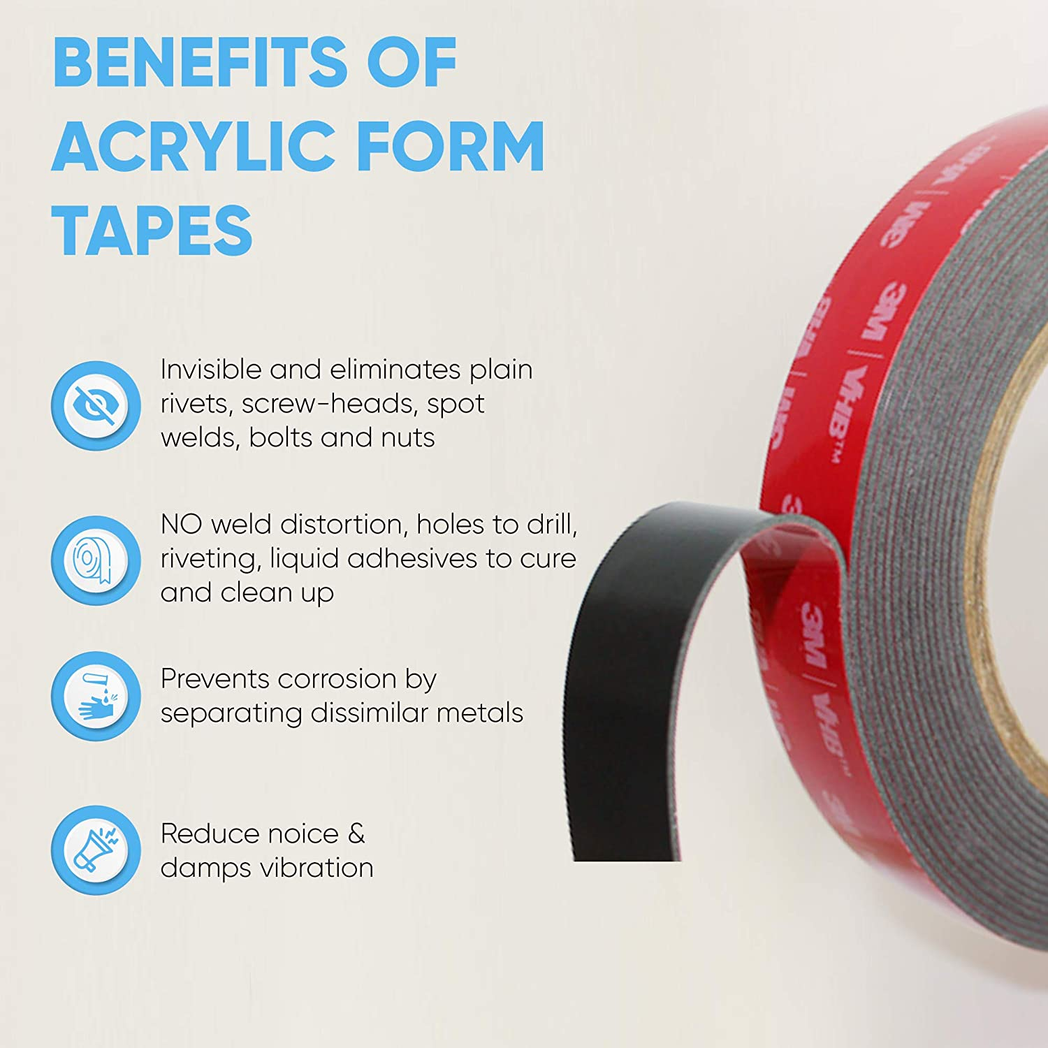 Super Strong Foam Tape for Outdoor and Indoor 3M Double Sided Tape 0.25in x 15ft HPP Heavy Duty Mounting Tape Converted from 3M VHB 5952,