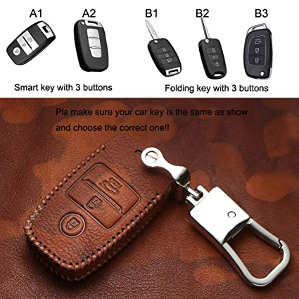 HIGH FLYING Leather Key Cover Bag Fob Shell Case Car Smart Key Case For Kia Sportage Sorento 08-18, RIO Optima 09-18, Fort K3 K3S 12-17 (Smart key ...