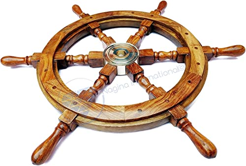 Nagina International Natural Wood Premium Pirate's Boat Ship Wheel 72 Inche