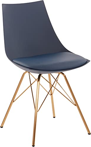 AVE SIX Oakley Faux Leather Task Chair with Gold Chrome Base, Navy