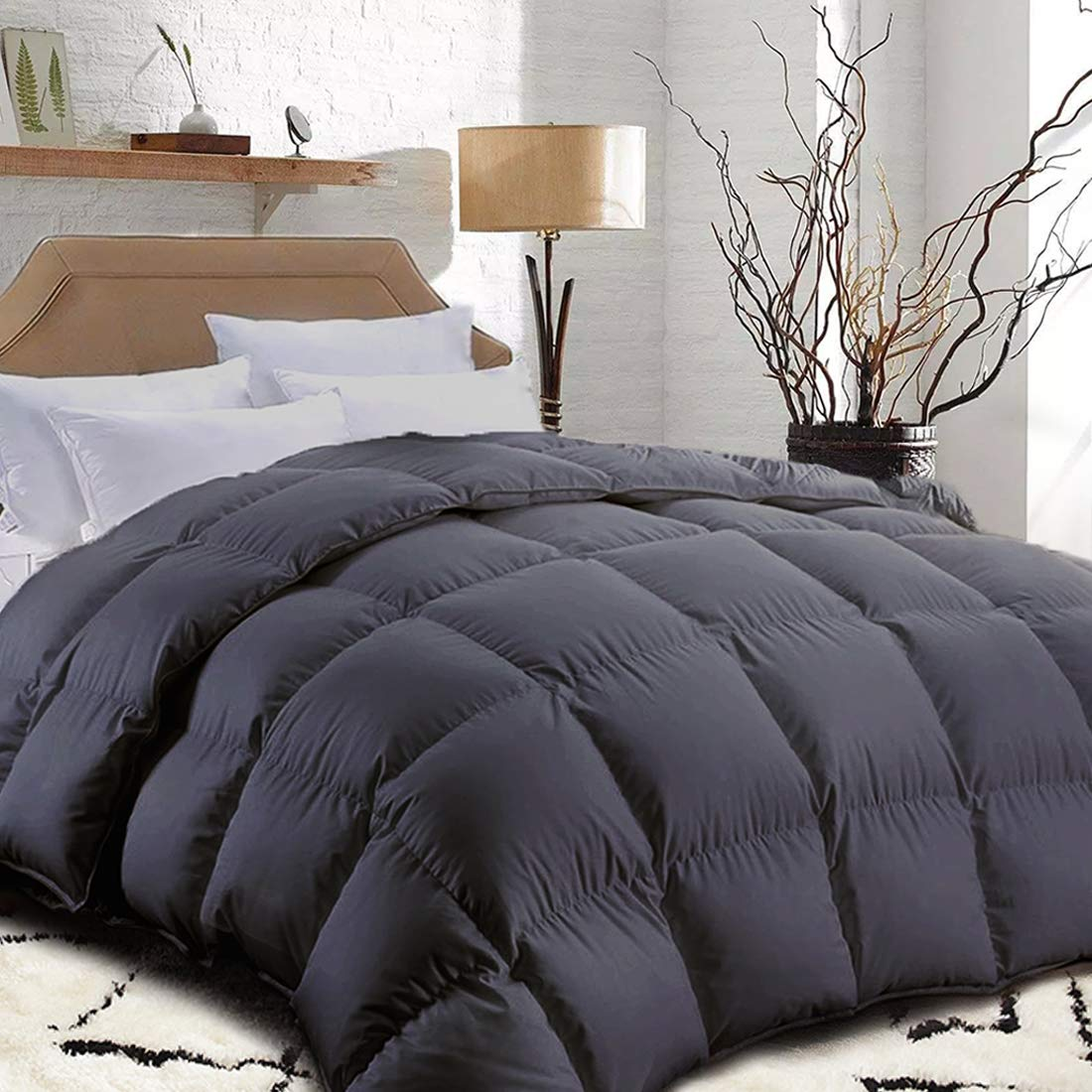 Twin Comforter Soft Summer Cooling Goose Down Alternative Duvet Insert 2100 Hypoallergenic Quilt with Corner Tab for all Season,Prima Microfiber Filled Reversible Hotel Collection,Grey,64 X 88 inch