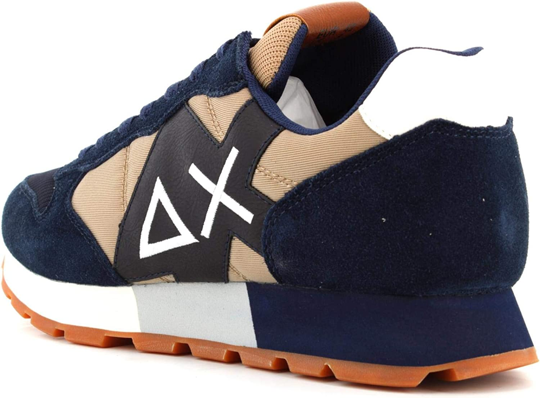 SUN68 Sneaker Running Jaki Solid Bicolor in Pelle Scamosciata Nero//Tessuto Verde Army U21SU01
