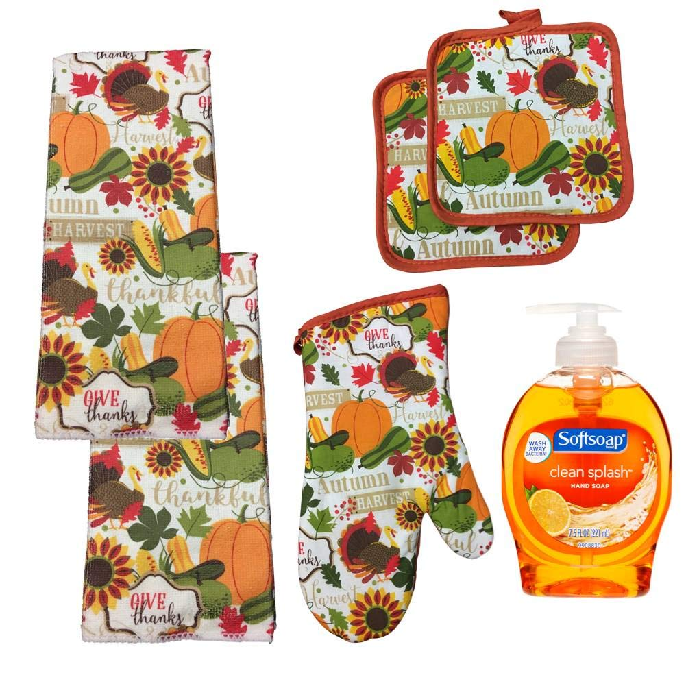 HuntGirl Gifts Thanksgiving Kitchen Towels, Oven Mitt and Potholders with Decorative Soap Pump-Six Piece Gift Set Festive Fall Decor