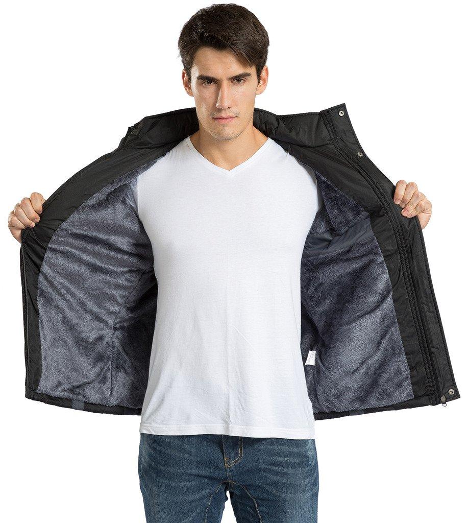 Men's Winter Warm Fleece Lined Ski Coats Outdoor Hooded Waterproof Parka Jacket Black US X-Large / Asian 5XL by HENGJIA (Image #6)